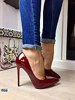 Женские лаковые туфли лодочки марсала