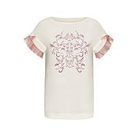 Блузка с вышивкой гладью, жемчужным бисером и стеклярусом, цвет белый