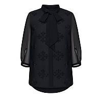Шифоновая блузка с бантом и стразами в тон, цвет черный