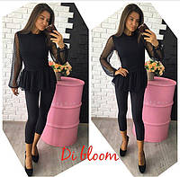 Костюм женский капри и блузка черного цвета