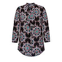 Блузка с бантом и принтом, цвет черный