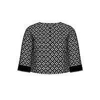 Укороченный жакет из жаккарда и бархата, цвет черный, фото 1