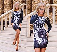 """Элегантное стильное короткое платье """"Принт Мустанг"""" чёрно-белый"""