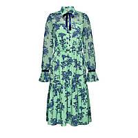 Платье с шифоновой кокеткой и рукавами, цвет ментоловый
