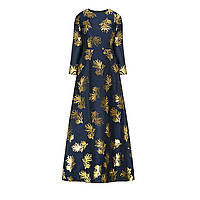 Вечернее платье из парчи с орнаментом «Пальметта», цвет темно-синий