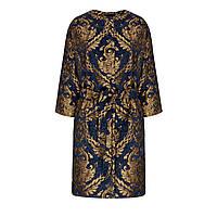Пальто из парчи с поясом, цвет темно-синий