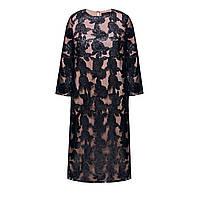 Платье с аппликацией из кожаных роз, цвет черный, фото 1