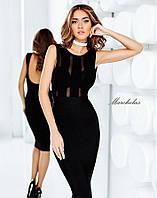 """Элегантное вечернее женское платье средней длины 3041 """"Трикотаж Сеточка Полосы"""""""