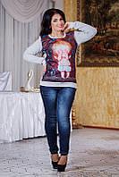 """Тёплый женский свитшот на байке в больших размерах 3005-1 """"Непослушные Бабочки"""" в расцветках"""