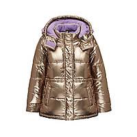 Куртка утеплена з капюшоном для дівчинки, колір металік, фото 1