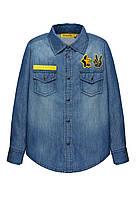 Джинсовая рубашка на кнопках для мальчика, цвет синий, фото 1