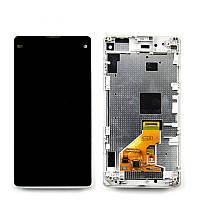 Дисплей Sony D5503 сони Xperia Z1 Compact , D5502 с тачскрином и передней панелью белого цвета