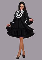 """Элегантное нарядное женское платье средней длины 151 """"Поплин Разлетайка Жабо Рюши Кружево"""" в расцветках"""