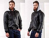 "Мужская стильная утеплённая куртка трикотаж-кожзам на синтепоне ""Philipp Plein"" в расцветках"