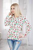 """Стильная женская рубашка 3010 """"Шифон Вишенки"""" в расцветках"""