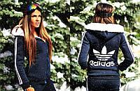 """Женская тёплая куртка на меху 975 """"Адидас"""""""