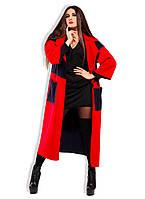 """Стильное женское длинное пальто-кардиган в больших размерах 5-841 """"Мозаика"""" в расцветках"""