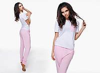 """Женская стильная пижама футболка + брюки 991 """"Коттон Карман Контраст"""" в расцветках"""