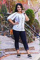 """Летняя женская стильная блуза до больших размеров 7715 """"Рисунок Вышиванка"""""""