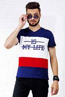 """Мужская стильная спортивная футболка 1039 """"IS MY LIFE"""""""