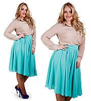 """Стильная женская юбка в больших размерах 631 """"Миди Клёш"""" в расцветках"""