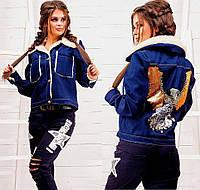 "Женская тёплая джинсовая куртка на меху 133 ""Rock Eagle"""