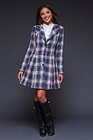 """Женское стильное короткое пальто 1269 """"Шерсть Букле Клетка"""" в расцветках"""