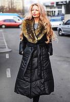 """Женское зимнее длинное пальто на синтепоне 9009-1 """"Углы Воротник Мех Енот"""""""