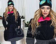 """Женское стильное тёплое пальто на синтепоне 891 """"Клёш Воротник Контраст"""" в расцветках"""
