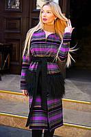 """Стильное женское пальто-кардиган средней длины 9044 """"Кашемир Клетка Карманы Мех"""" в расцветках"""