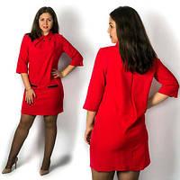 """Элегантное женское платье в больших размерах  571-1 """"Креп Подвеска Кармашки"""" в расцветках"""