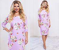"""Элегантное женское платье в больших размерах 2002 """"Креп Цветы"""" в расцветках"""