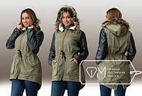 """Женская стильная куртка-парка на меху в больших размерах 070-1 """"Рукава Кожа Мех"""" в расцветках"""