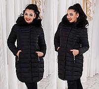 Женская тёплая зимняя куртка-пальто холлофайбер в больших размерах 858 в расцветках