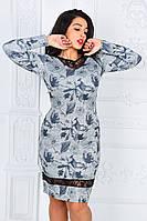 """Элегантное женское платье в больших размерах 339 """"Джерси Цветы Гипюр"""""""