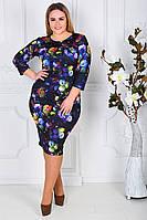 """Женское элегантное платье в больших размерах 341 """"Трикотаж Розы Акварель"""" в расцветках"""