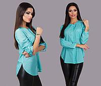 """Элегантная женская блузка-рубашка 150 """"Креп Горошек Карман"""" в расцветках"""