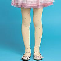 Колготки детские с рисунком «Сердечки», плотность 50 den, цвет «ваниль»
