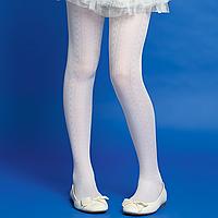Колготки детские с ажурным узором, плотность 20 den, цвет белый
