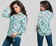 """Стильная женская блузка-рубашка 5239-1 """"Коттон Складки Губки"""" в расцветках"""