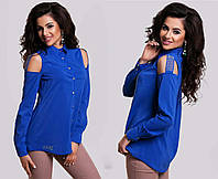 """Элегантная женская нарядная блузка-рубашка 5234 """"Креп Плечи Стразы"""" в расцветках"""