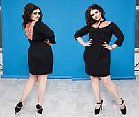 """Элегантное женское платье в больших размерах Б 10 """"Оксфорд Воротничок Гипюр"""" в расцветках"""
