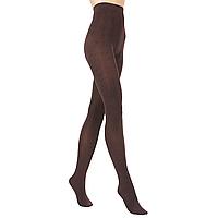 Эластичные колготки Велюр, цвет коричневый меланж, 120 den