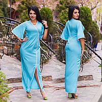 """Элегантное летнее длинное платье в больших размерах 1140 """"Гейша"""" в расцветках"""