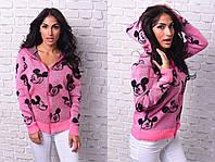 """Женский стильный вязанный свитер на змейке 8075 """"Disney Mickey Mouse"""""""