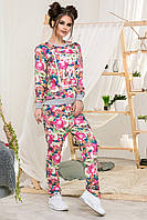 """Стильный женский спортивный костюм джинс цветочный принт до больших размеров 1-361 """"BEST LOOK"""" в расцветках"""