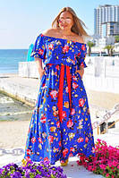 """Элегантное яркое длинное платье в больших размерах 035 """"Фонарик Розы Макси"""" в расцветках"""