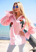 """Элегантная женская блуза-рубашка 9055 """"Коттон Разлетайка Розы Вышивка"""" в расцветках"""