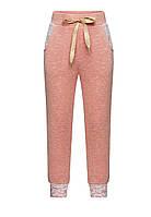Трикотажные брюки с люрексом для девочки, цвет светло-розовый