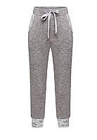 Трикотажные брюки с люрексом для девочки, цвет серый меланж